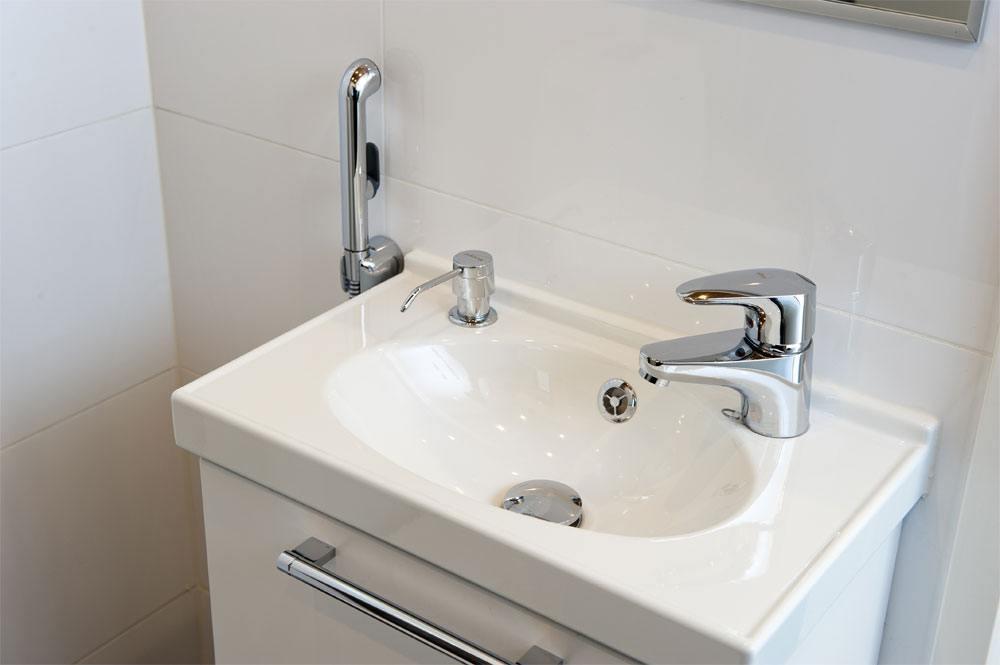 Ekstra Vandhane med bruser giver mere plads på det lille badeværelse DF25
