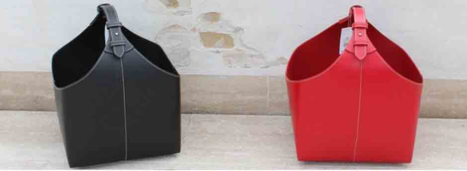 brændekurve i læder - sort og rød