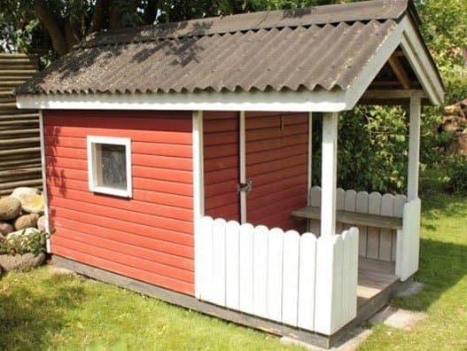 Legehus med terrasse   priser på brugt og ny