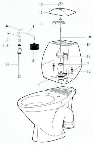 Alle nye Ifö toilet reservedele - Reparation af toilettet når det løber ZP79