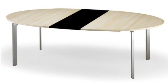 Rundt spisebord med udtræk   hvid, farvet eller træ